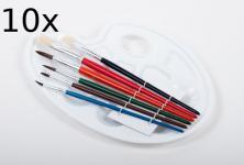 10x Pinselset mit Farbmischpalette