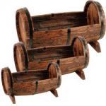 Holz-Pflanzfässer 3er Set Massiv Holz
