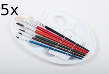 5x Pinselset mit Farbmischpalette