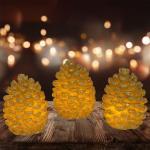 3er-Set LED-Wachs-Kerze Tannenzapfen mit Flackerlicht Winterdeko Weihnachten