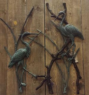Bronzefigur Fischreiher Wanddeko, Tierfigur aus Bronze Vogel Vögel Reiher