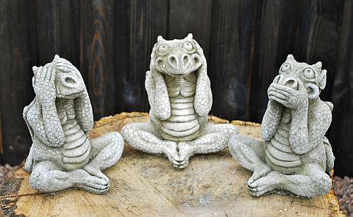 Steinfiguren Drachenset Drei Drachen als Set, Figur aus Steinguss