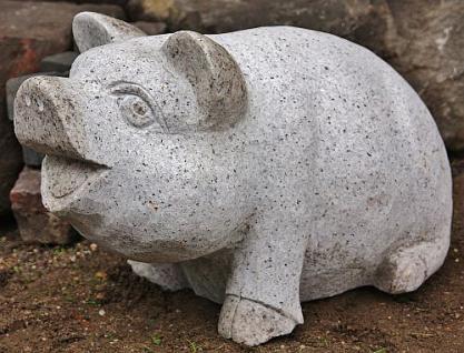 Steinfigur Schwein, Tierfigur aus Granit, Eber, Ferkel, Sau