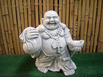 Steinfigur Buddha aus Steinguss, Gartendekoration, Glücksbringer