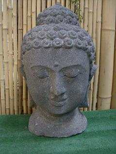 Steinfigur Buddha Kopf, Büste aus Lavastein - Vorschau 1