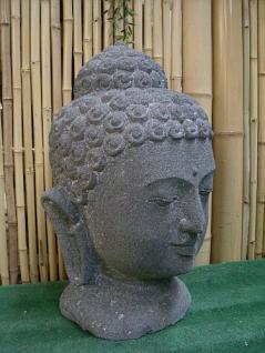 Steinfigur Buddha Kopf, Büste aus Lavastein - Vorschau 2