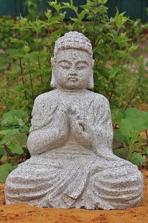 Steinfigur Buddha, Skulptur aus Granit, frostfest, für Garten & Teich