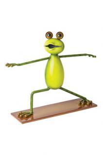 "Yoga Frosch, Haltung: ""Der Krieger"", Figur aus Metall Frösche Kröte Guru"