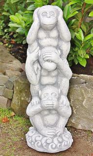 Steinfigur Drei Affen, Tierfigur aus Steinguss