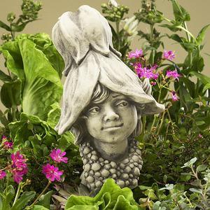 Steinfigur Blumenkind Abutilon, Figur aus Steinguss