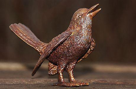 Bronzefigur Singvogel, Vogel aus Bronze, Tierfigur