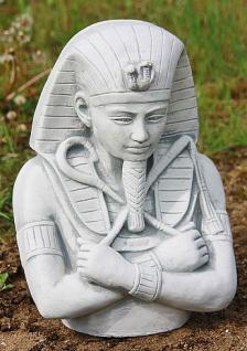 Steinfigur Pharao, Büste aus Steinguss, patiniert, frostfest