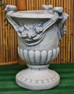 Steinfiguren Rosen Amphore, Pflanzgefäß aus Steinguss