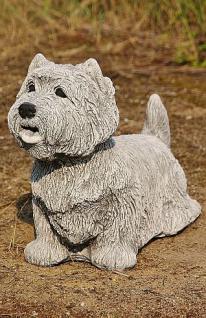 Steinfigur Hund Westie, Tierfigur aus Steinguss, patiniert