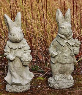 Steinfiguren Herr & Frau Hase als Set, Tierfiguren aus Steinguss