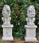 Steinfigur Löwenset aus Steinguss mit Sockeln frostfest 91 cm H Löwen