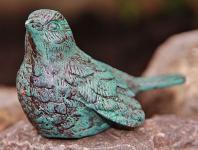 Bronzefigur Vogel, Tierfigur aus Bronze, Singvogel