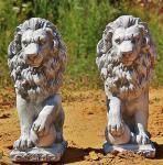 Löwenset, Tierfiguren aus Steinguss Löwen