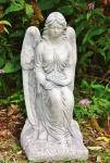 Steinfigur Engel mit Rosenkranz 59 cm wetterfest
