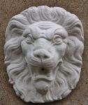 Steinfigur Wasserspeier Löwenkopf, mit Öse zum Aufhängen, Steinguss