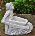 Steinfigur Junge mit Schubkarre, bepflanzbar, Kinderfigur aus Steinguss