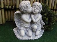 Engelpärchen, sitzend, weiss für Garten, Balkon & Friedhof frostsicher !