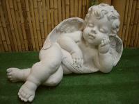 Steinfigur Engel mit Flügel Garten & Terrasse/ Engel