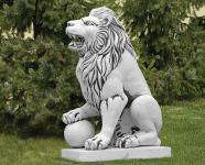 Steinfiguren Löwe mit Kugel Lebensgroße Skulptur , Löwen