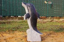 Steinfigur Delfin, Wasserspeier, Tierfigur aus Granit Delphin