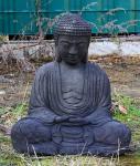 Steinfigur Sitzender Buddha, Figur aus Steinguss, patiniert