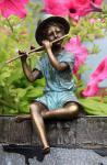 Bronzefigur Flötenspieler, Figur aus Bronze