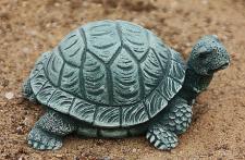 Steinfigur Schildkröte, Figur aus Steinguss, Tierfigur, Steinfigur, Patiniert