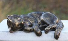 Bronzefigur Katze liegend, Tierfigur aus Bronze Katzen Bronzekatze