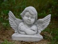 Steinfiguren Engel Büste, mit Halterung für bis zu zwei Teelichter, Skulptur aus Steinguss