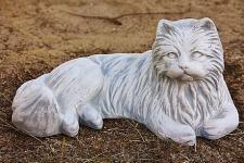 Steinfigur Perser Katze, Tierfigur aus Steinguss