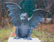 Bronzefigur Wasserspeier Drache Terrador, Skulptur aus Bronze