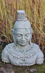 Steinfigur Buddha Büste, Skulptur aus Steinguss, Dekoration