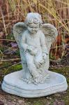 Steinfigur Vogeltränke Engel, Vogelbad aus Steinguss