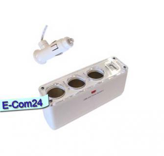 USB Triple Bucket/ Universal-Kfz-Adapter, 3 Zigarettenanzünder, 1 USB-Anschluss weiss
