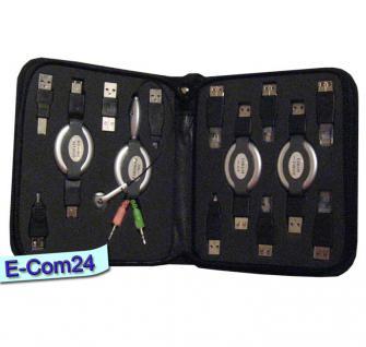 Notebook Travel Kit, Travel Easy Cabel Bag, USB Adapter Reisest, Traveler Kit mit Headset, Mikrofon, Netzwerk, USB-, Firewire Kabelrolle