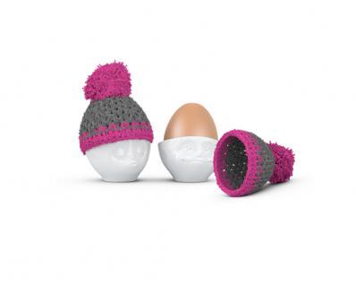 Eierbecher mit Mützenwärmer Set 1 küssend verträumt TV Tassen weiß magenta grau