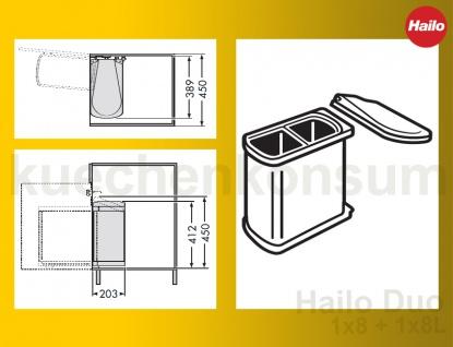 hailo abfallsammler mf swing 45 2 16 duo 16 l m lleimer einbau abfalleimer 3416 kaufen bei. Black Bedroom Furniture Sets. Home Design Ideas