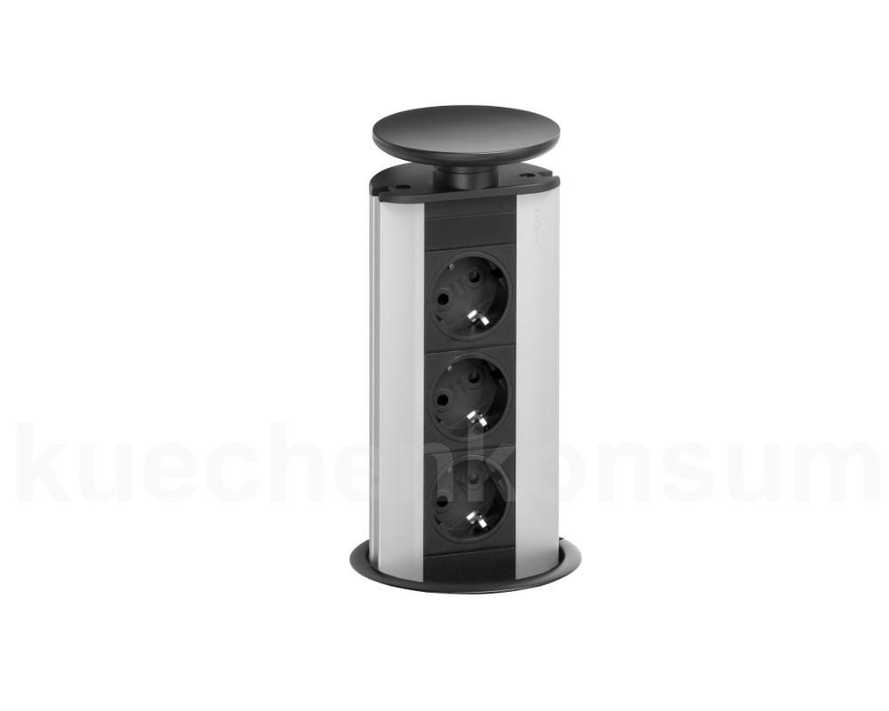 evoline port 3er steckdose versenkbar schwarz steckdosenturm steckdosenelement steckdosensystem. Black Bedroom Furniture Sets. Home Design Ideas