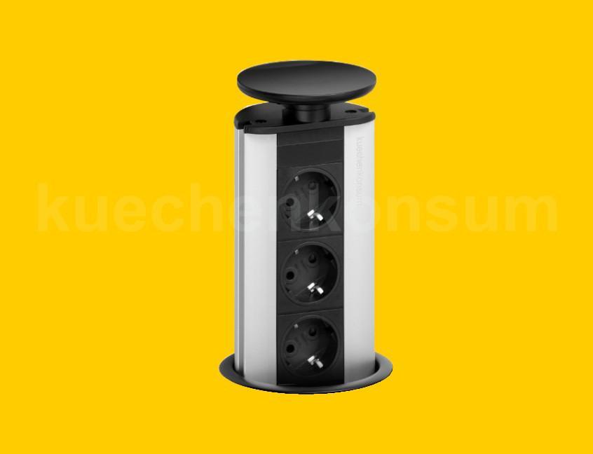 evoline port 3er steckdose versenkbar schwarz. Black Bedroom Furniture Sets. Home Design Ideas