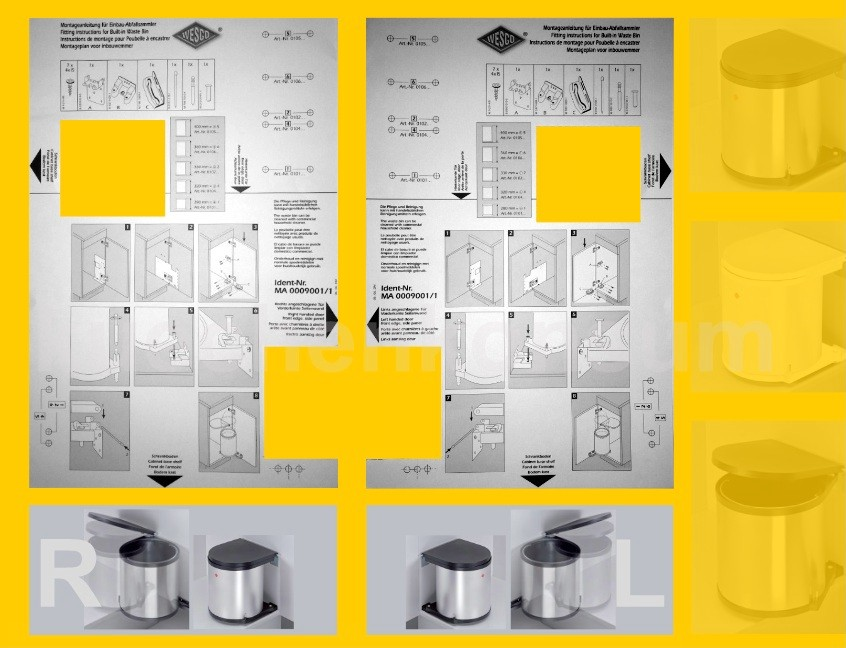 wesco der runde abfallsammler 15 l rund edelstahl m lleimer einbau abfalleimer kaufen bei. Black Bedroom Furniture Sets. Home Design Ideas
