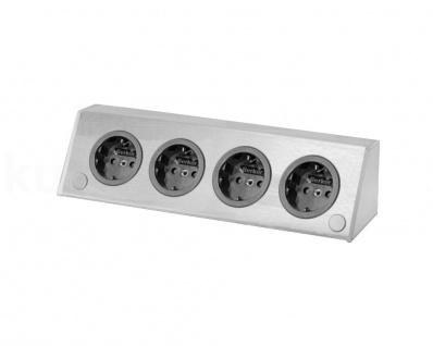 Steckdose 4fach waagerecht Edelstahl Ecksteckdose ST 3900 A Energiebox PowerPort