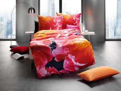Bettwäsche 155x220+80x80 cm Design 454 Mako-Satin mit Digitaldruck Blumenmotiv von Kaeppel