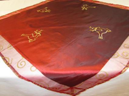 tischdecke mitteldecke 80x80 cm weihnachtsmotiv hirsch rot. Black Bedroom Furniture Sets. Home Design Ideas
