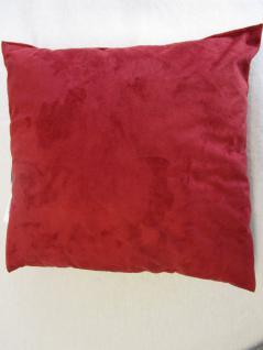 Kissen in Alcantara-Look 40x40 cm komplett mit Faserkugel-Füllung Farbe Rot - Vorschau 2