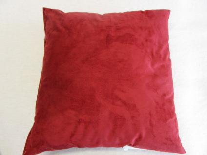 Kissen in Alcantara-Look 40x40 cm komplett mit Faserkugel-Füllung Farbe Rot - Vorschau 3